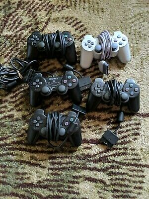 Lot of 5 Official Sony Playstation 2 Controller Dualshock Wired PS2 ps one OEM