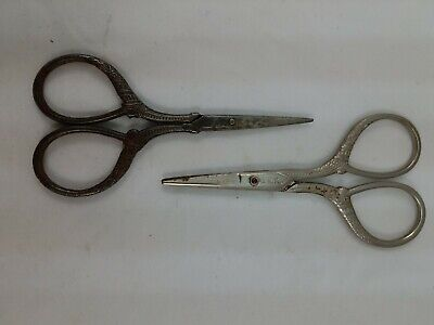 2x Vintage 3 3/4in. Sewing Scissors Needlepoint, Cross Stitch, Decorated B1