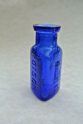 """The Owl Drug Co. Cobalt Blue Poison 2 1/4"""" Tall.  Great Condition and Rare!"""