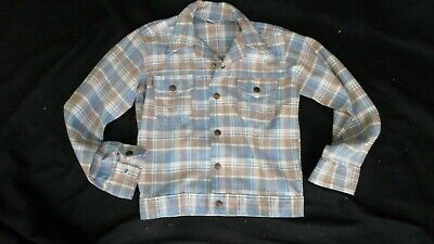 1970's VINTAGE Boy's BILLY THE KID Plaid Spring Weight Jean Style Jacket 12