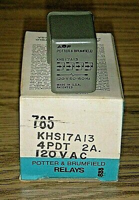 P&B Potter & Brumfield KHS17A13 120VAC Hermetically Sealed Relay -4PDT 2A NOS
