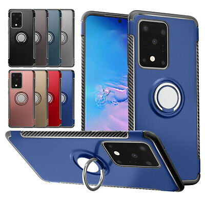 For New Samsung Galaxy S20 Ultra Plus 5G S10E Magnetic Car Ring Holder Slim Case