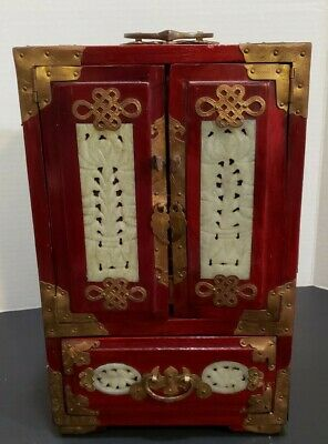 Vtg Chinese Oriental Carved Jade Brass Asian Rosewood Wood Jewelry Trinket Box