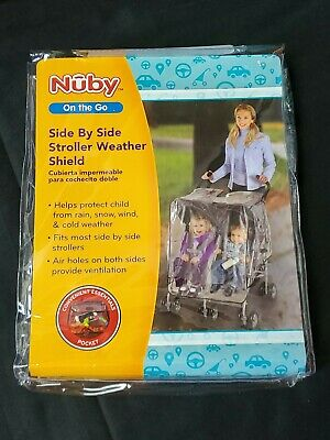 Nuby On The Go Side by Side Stroller Weather Shield Clear View #120016 NEW