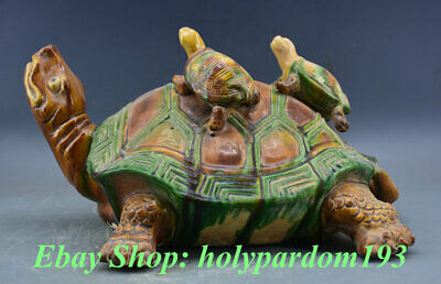 "15"" Old Chinese Tang Sancai Pottery Carving Sea tortoise Turtle Wealth Sculpture"
