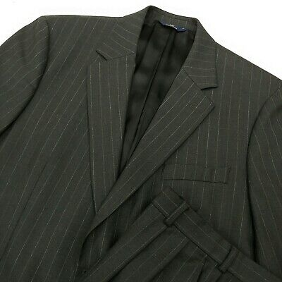 BROOKS BROTHERS 346 Stretch Mens Charcoal Gray Pinstripe Suit Pleated Wool 44R