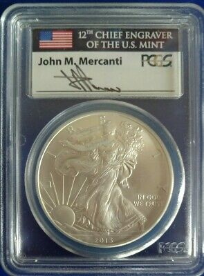 2013 Silver Eagle Pcgs Ms70 Flag Mercanti First Strike Label