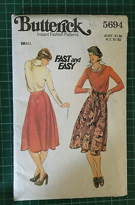 Vintage Butterick 5694 Wrap Skirt Sewing Pattern Size Small
