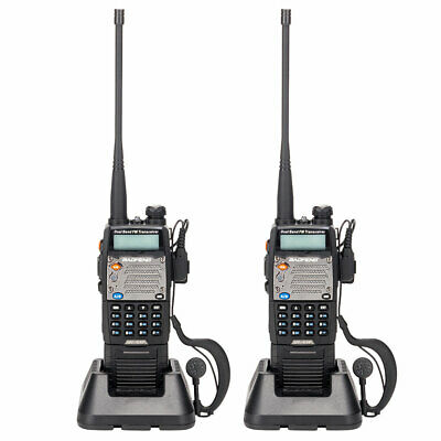 2 x New Model BAOFENG UV-5XP 2 Way Radio 8W USB Walkie Talkie + Free Earphone