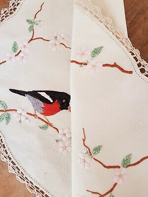 Wonderful Red Robins & Cherry Blossom Vintage Hand Embroidered Supper Tablecloth