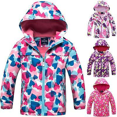 Waterproof Kids Girl Floral Raincoat Rain Coat Jacket Clothes Outfit Windbreaker