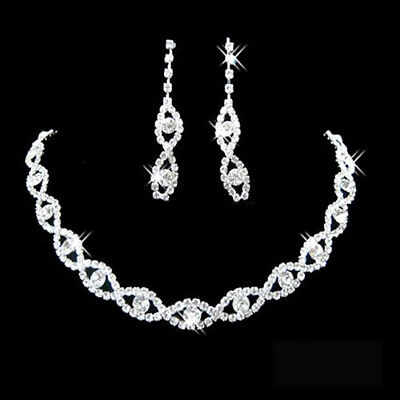BE_ GC- Women Rhinestone Twisted Necklace Dangle Earrings Bridal Wedding Jewelry
