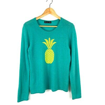 Hannah Rose 100% Cashmere Pineapple sweater pullover long sleeve M