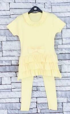 Kids Girls New Yellow Grey Coral Lounge Wear 2 Piece Outfit Tracksuit Age 2 - 13