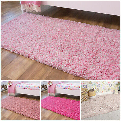 Girls Pink Bedroom Rugs Soft Non Shed Shaggy Rugs Small Warm Cosy Fluffy Rugs