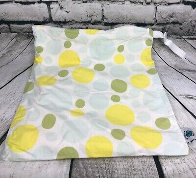Planet Wise Cloth Diapers Reusable Wet Bag White w/ Yellow Blue Dots Size Large