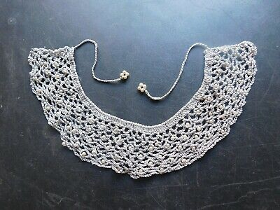 Antique Victorian Hand Crochet Collar with Faux? Pearls & Rhinestones