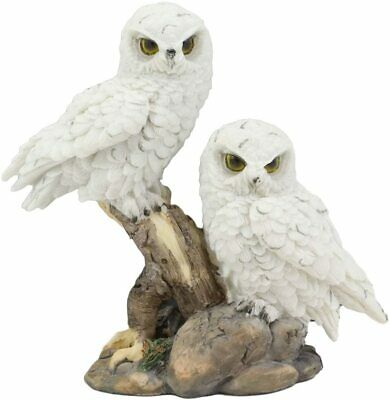"""Ebros Mystical Two White Snowy Baby Owlets Perching On Tree Branch Statue 7""""Wide"""