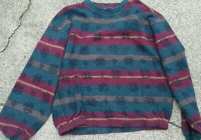 Nautica Mens Pullover Sweater Green Maroon  Brown Stripes Snowflake Crew Neck  M