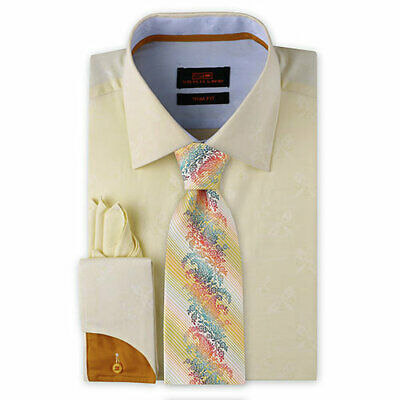 Dress Shirt Only by SL Trim/&Classic Fit French Angle Cuff-Gray//Pink-TA713-CH