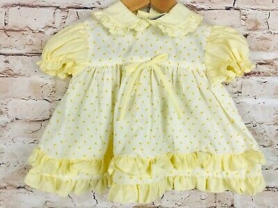 Vintage Toddler Time JCPenney Roses Yellow Dress Tier Ruffle Party Dress 6-12m