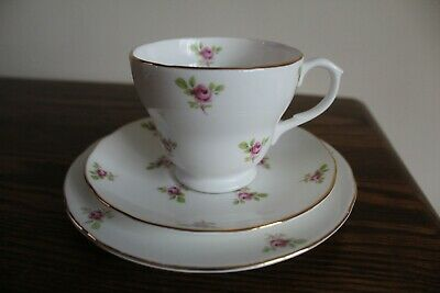 Lindrick Pottery bone china, pink roses tea cup, saucer and side plate trio