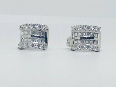 Ornaatis 1.87 Cttw Round Cut White /& Blue Natural Diamond Dome Halo Stud Earrings in Sterling Silver