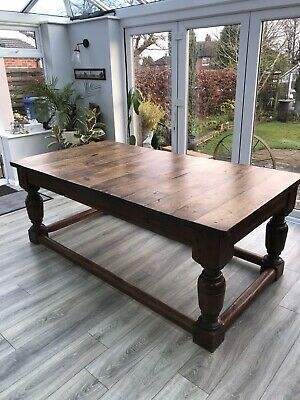 Antique Large Solid Oak Victorian Dining Table