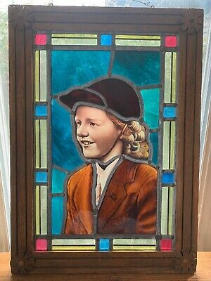 1900 victorian or edwardian stained glass window from England equestrian