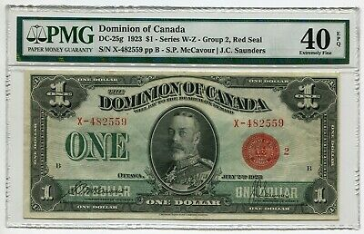1923 Dominion of Canada $1 Red Seal DC-25g PMG Certified and Graded XF40 EPQ