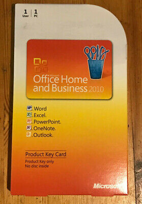 Microsoft Office Home and Business 2010 genuine licence key card software