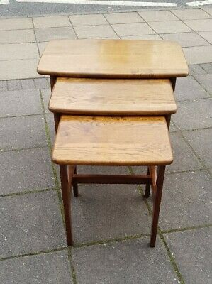 Mid 20th Century Solid Oak Nest Of 3 Coffee Tables / Occasional Tables