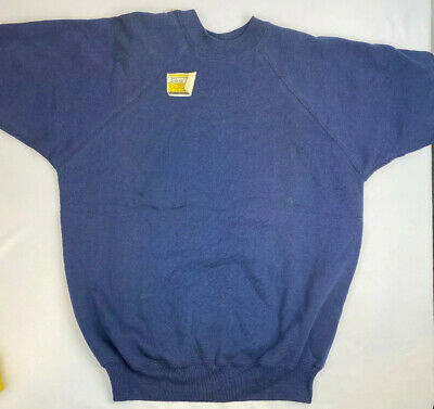 NOS True Vintage 70s Navy Blue Sweatshirt Raglan Short Sleeve Size S/M