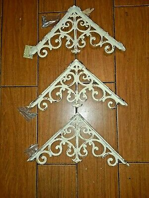 SET OF 3 ORNAMENTAL SHELF BRACKET BRACE Vintage Rustic Antique Cast Iron