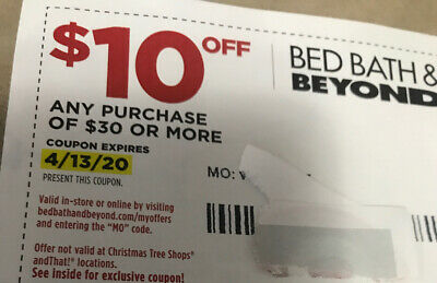 Bed Bath & Beyond $10 off $30 coupon expires 03/30/2020