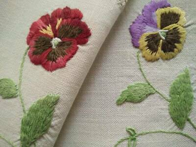 2 x Gorgeous Sweet Pansy/Pansies  Vintage Hand Embroidered Doilies