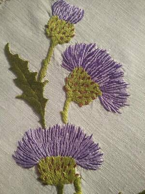 Outstanding Scottish Purple Thistles  Vintage Hand Embroidered Centrepiece