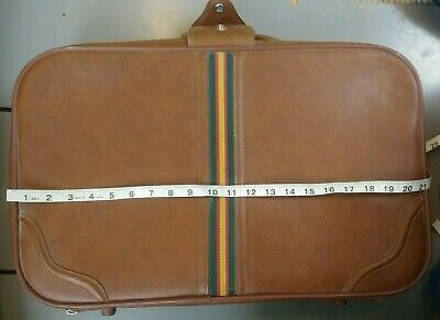 Vintage '70s Luggage Carry On Med Suitcase Overnight bag Travel Tote Brown Vinyl