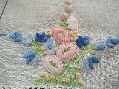 Charming Hollyhocks Cottage Flowers  Vintage Hand embroidered Doily