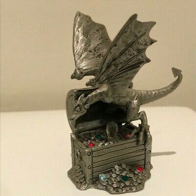 Royal Selangor Pewter Dragon in treasure chest w/ coloured jewels 5119 Hudson