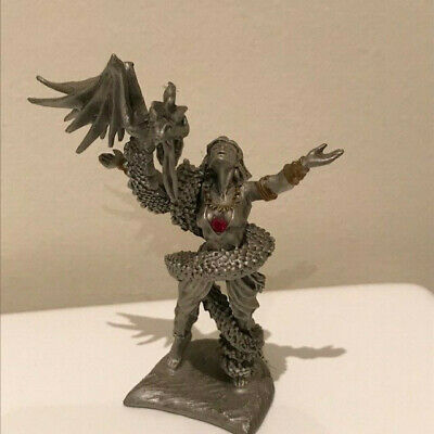 Royal Selangor fine pewter Sorceress with blue eyed winged Dragon 4865