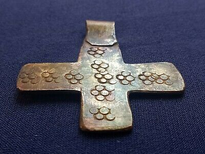 "Ancient Viking Solid Silver Rare Pendant Amulet ""Cross"" Great Save 8-10 Ad Cent."