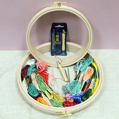 Nurge Wooden Punch Embroidery Hoop Needle Set Coloured Threads & Starter Kits