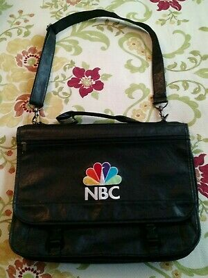 "Vintage NBC Stitched Peacock Leather Travel Bag-Commuter-18"" x 15""-RARE !!!!"