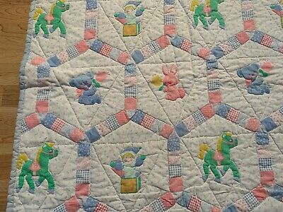 """Vintage 1981 Homemade Baby Quilt Blanket  53"""" X 40.5"""""""
