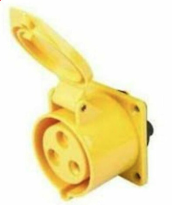 MCG Connexs 16A 2P+E 110V 3 Pin Straight Panel Socket IP44 Yellow With Gasket
