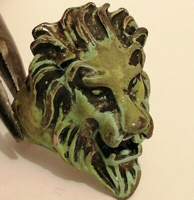 Rare Ancient Viking Style Silver Ring Solid Lion HEAD SYMBOL VERY Stunning