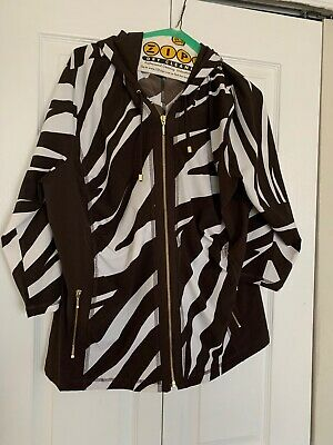 Zenergy by Chico's Brown Animal Print Activewear Jacket Chico's Size 3(XL)