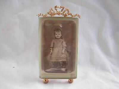 ANTIQUE FRENCH GILT BRASS BRONZE BEVELED GLASS PHOTO FRAME,LATE 19th CENTURY.