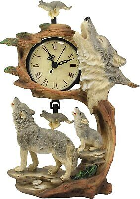 "Ebros Howling Gray Wolves Family Table Clock with Pendulum 10.5"" Height Decor"